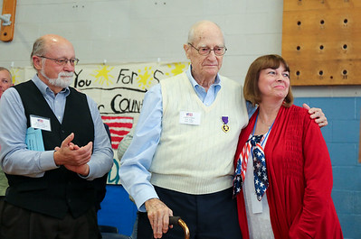 World War II veteran Clifton Caldon with Brian Caldon, left and Janet Kochanowski.  Photo by John Fitts