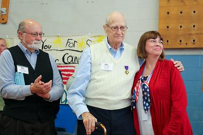 World War II veteran Clifton Caldon with Brian Caldon, left and Janet Kochanowski.  Photo by John Fitts
