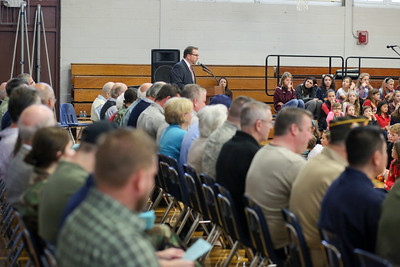 Kevin Hanlon, principal of Canton Intermediate School, speaks during a celebration of service to our country ceremony on Veterans Day 2016.  Photo by John Fitts