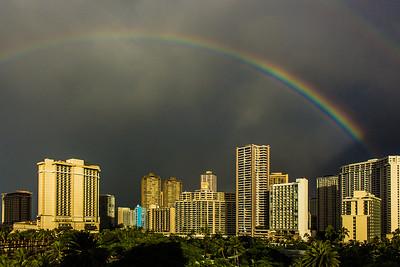 Rainbow over Waikiki.