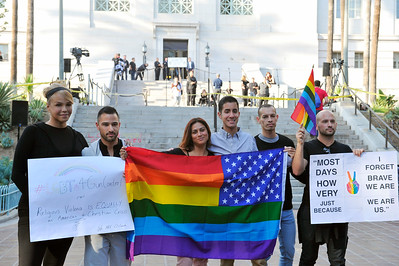 CITY HALL IN LOS ANGELES CALIFORNIA WAS THE BACKDROP FOR A VIGIL IN MEMORY OF THE VICTIMS AT THE PULSE NIGHTCLUB ON JUNE 13, 2016 PHOTOS BY VALERIE GOODLOE