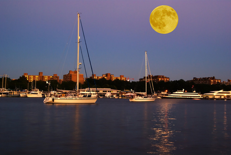 MOON OVER THE CHANNEL<br /> MOON RISING OVER THE WASHINGTON CHANNEL IN WASHINGTON D.C.