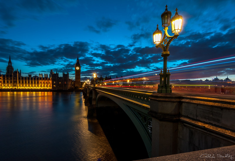 Westminster Bridge, London. And a bus passing by