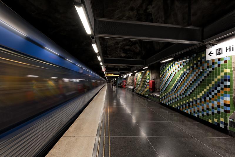 Tunelbana. Metro station in Stockholm