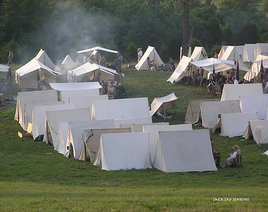 Cooking fires in the Confederate camp.