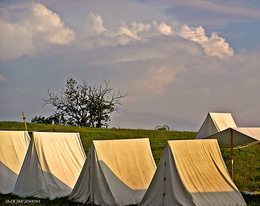 Confederate camp in the late afternoon.