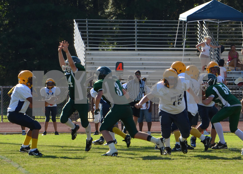 A baggett blocks kick