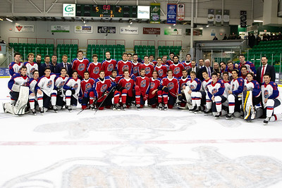 Action from the 2019 CJHL Prospects Game.