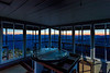 Sunrise from inside the Kelly Butte Lookout
