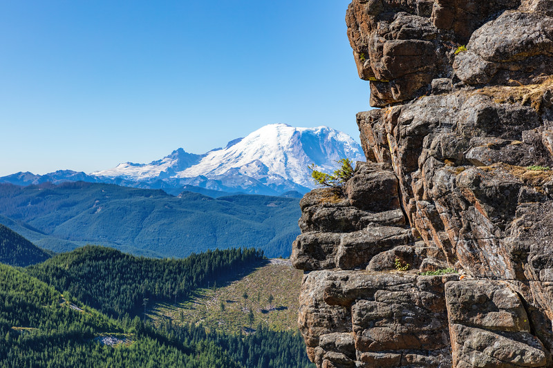 View of Mt Rainier on the trail to Kelly Butte Lookout