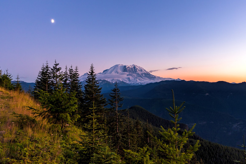 Moon over Mt Rainier
