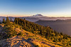 Sunset view of Mt Rainier from the deck of the Kelly Butte Lookout