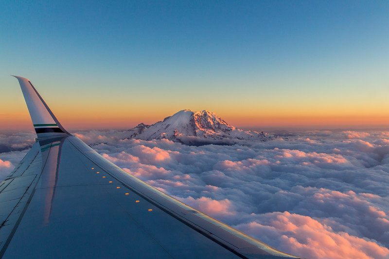 Mt Rainier Sunset, Alaska Airlines Flight