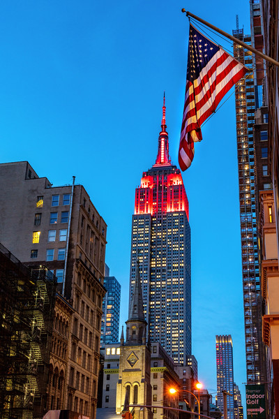 Empire State Building with US Flag