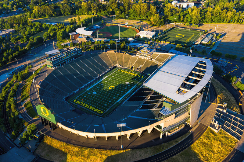 Aerial Views Of Autzen Stadium, University of Oregon Ducks Football Stadium