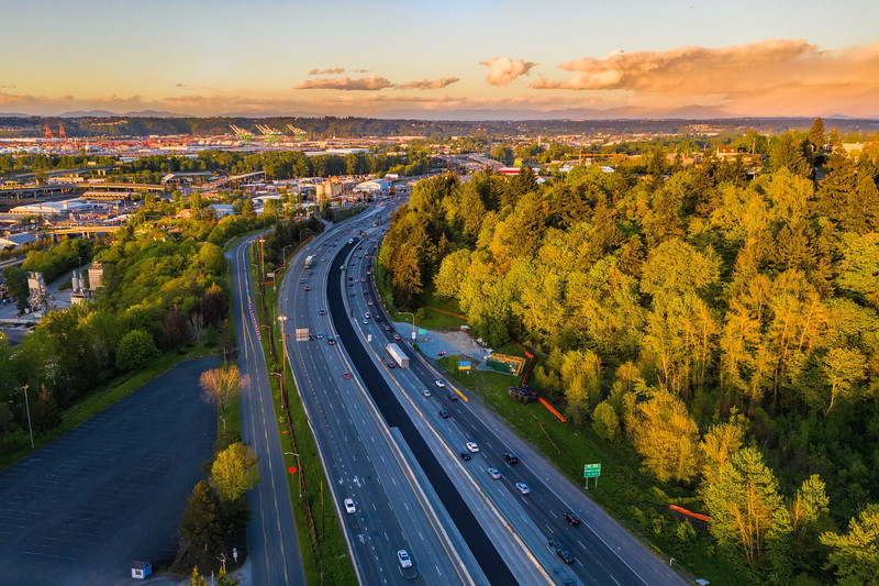 Fall day in Tacoma over I5