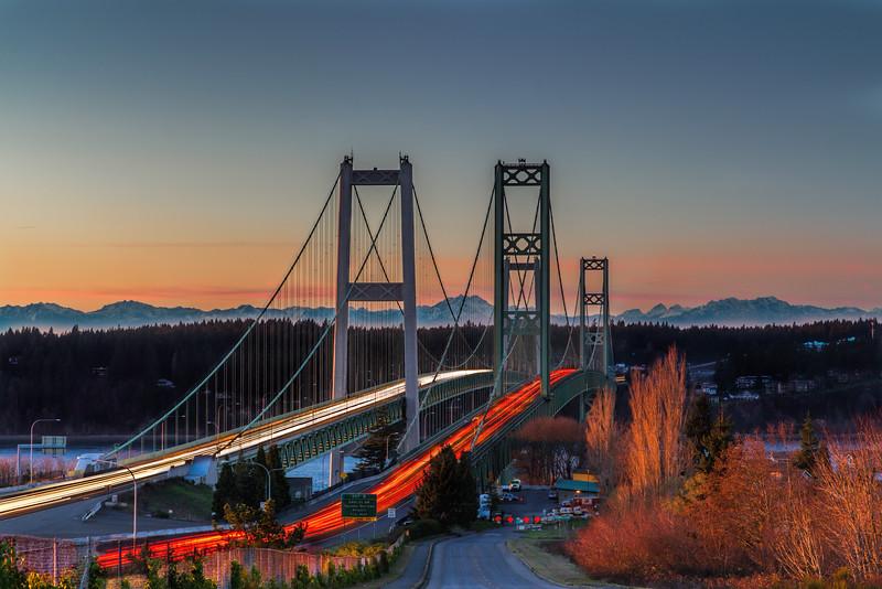 Sunset at the Tacoma Narrows Bridge