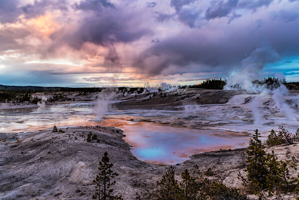 Sunset at Norris Geyser Basin