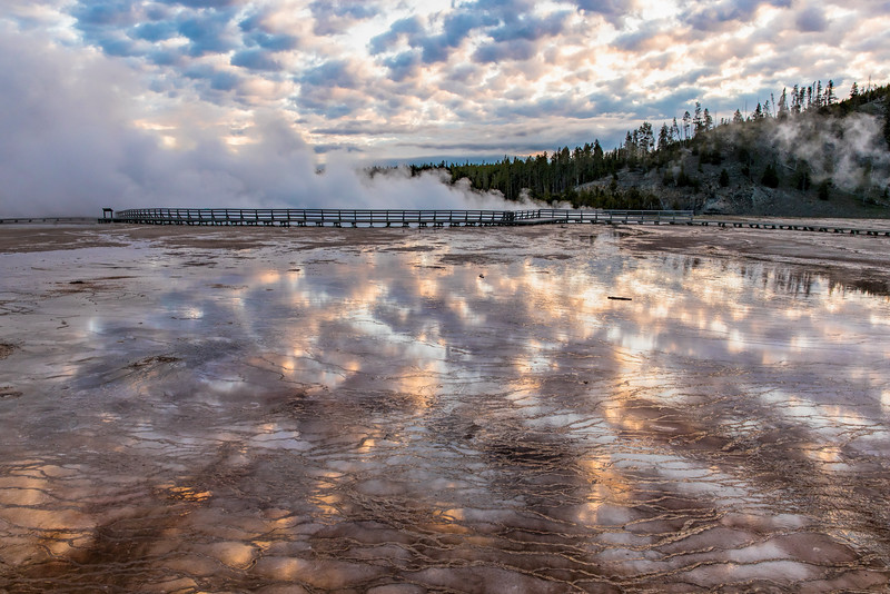 Sunrise at Grand Prismatic Spring