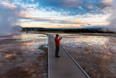 Early morning at Grand Prismatic Spring