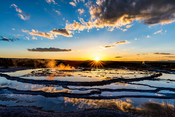 Sunset at the Great Fountain Geyser