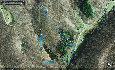 Orange route is GPS track of initial scouting hike.