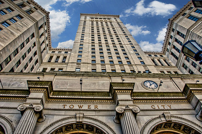 LOOKING UP AT TOWER CITY HDR AND SKY
