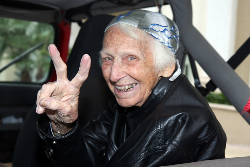 IMG_4966 Flo Cowell - 92 year old BIKER BABE
