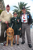 IMG_0005  Irwin Stovroff (POW in WWII) his dog, CASH & Colonel Banna Ghioto - WAC- Ret  &  Bill Arcuri(POW in Vietnam)