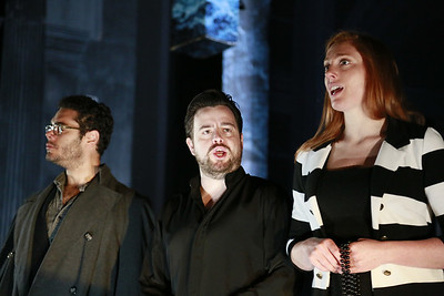 Elliot Madore, Ben Johnson and Layla Claire - Don Giovanni Stage and Studio Rehearsals - Glyndebourne 2014