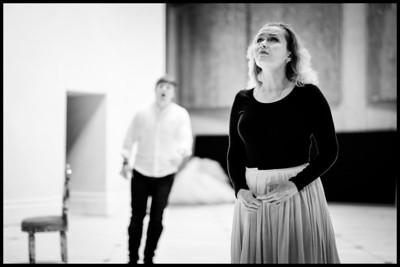 Andrei Bondarenko & Ekaterina Scherbachenko - Eugene Onegin Rehearsals, Glyndebourne 2014 (black and white)