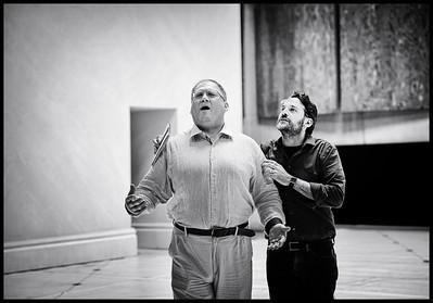 Taras Shtonda & Jacopo Spirei - Eugene Onegin Rehearsals, Glyndebourne 2014 (black & white)