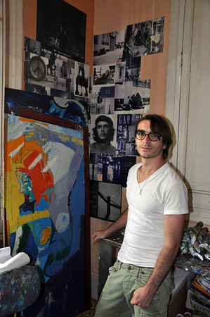 Cuban painter, Lancelot Alonso, in his art studio in Havana, Cuba, March 27, 2013.  Photo by: Cynthia Carris Alonso http://www.photosolutionsnyc.com/ 917-678-8089