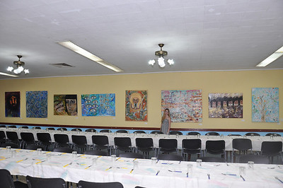 Alex Eisman, Jewish New York artist, stands with her paintings on exhibit at El Patronato Synagogue in Havana, Cuba, March 22, 2013.   PHOTO BY: Cynthia Carris Alonso http://www.photosolutionsnyc.com/