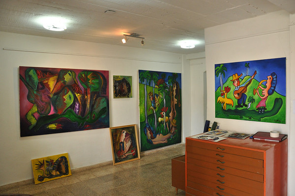 Gallery view inside Cuban artist, José Fuster's self designed tiled house in Jaiminita, Cuba.
