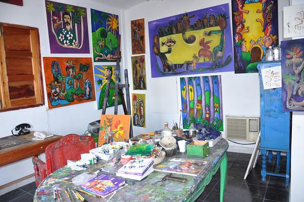 Gallery inside Cuban artist, José Fuster's, self-tiled home in Jaiminita, Cuba.