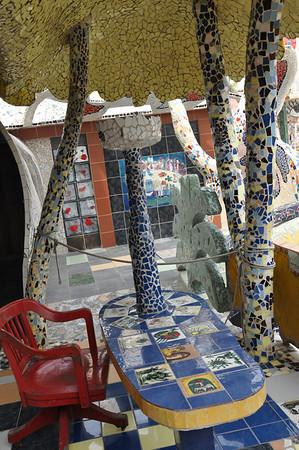 Exterior patio view of José Fuster's self-tiled home in Jaiminita, Cuba.