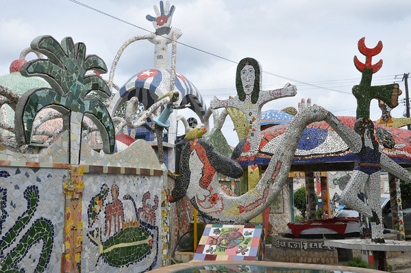 Exterior view of the outdoor garden of Cuban artist, José Fuster's self designed tiled house in Jaiminita, Cuba.