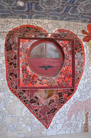 Tiled window outside Cuban artist, José Fuster's tiled home.