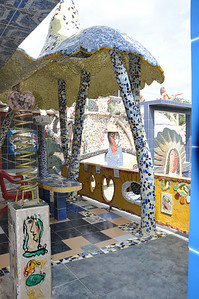 Exterior patio view of José Fuster's self designed tiled house in Jaiminita, Cuba.