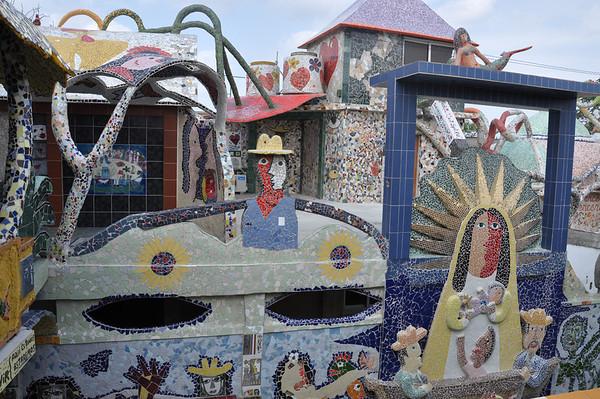 Exterior view of José Fuster's self-tiled home in Jaiminita, Cuba.