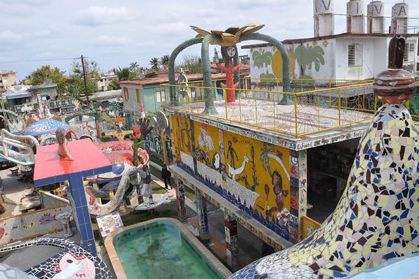 Patio view of José Fuster's self-tiled home in Jaiminita, Cuba.