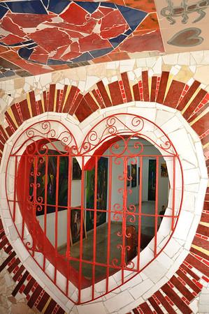 Exterior window view of Cuban artist, José Fuster's self designed tiled house in Jaiminita, Cuba.