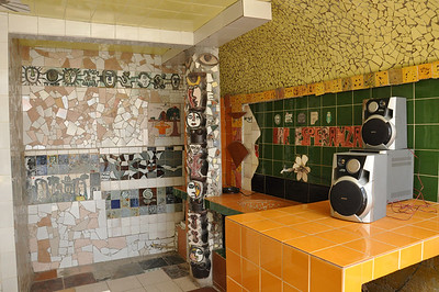 Kitchen area view of José Fuster's self designed tiled house in Jaiminita, Cuba.