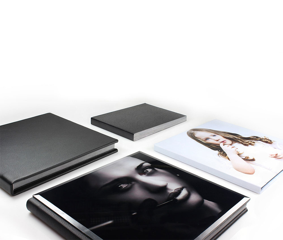 Leatherette books, Crystal Cover book, and Hard Cover photo books.