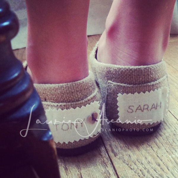 Sarah's wedding shoes.  Burlap Tom's and instead of the Tom's label, Aunt Lynda created Tony and Sarah labels.