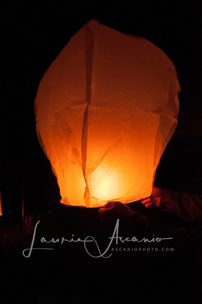 We lit 20 lanterns and watched them sail away