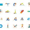Yoga and fitness icon set