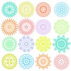 Collection of bright colorful geometric round ethnic decorative elements. Vector mandala.
