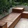 Casual built in bench with planted walls